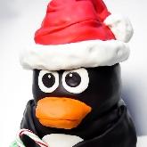 Penguin Santa Cake by Amanda Oakleaf