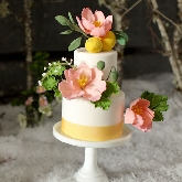 Snowy Sugar Flowers Wedding Cake