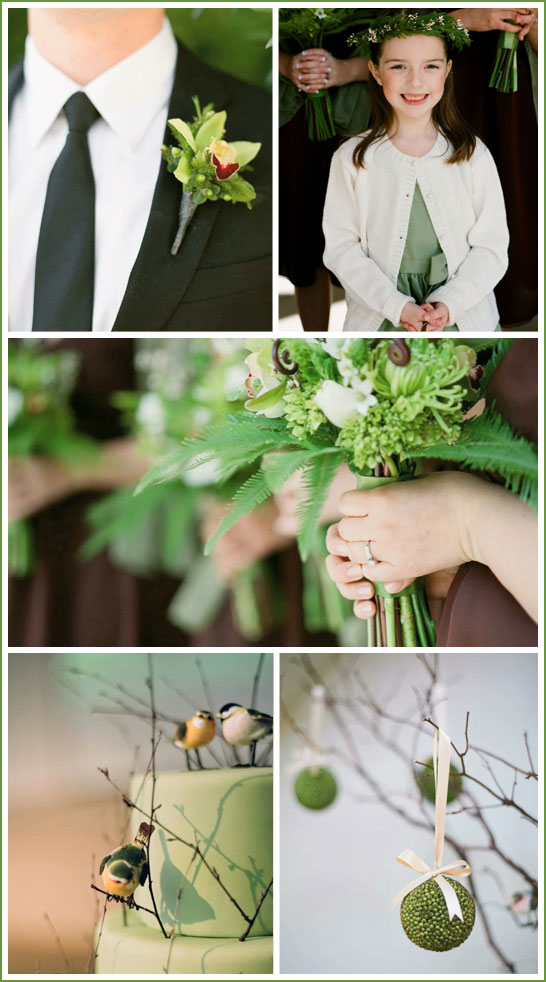 Brown and Green Wedding