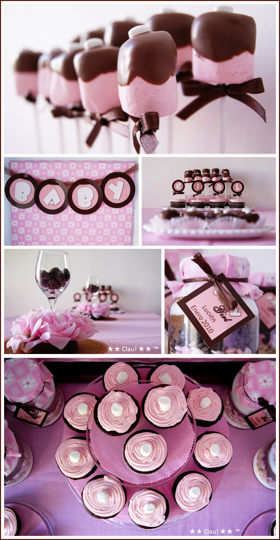 Pink and Brown Baby Shower        Baby Shower Ideas     http://www.frostedevents.com