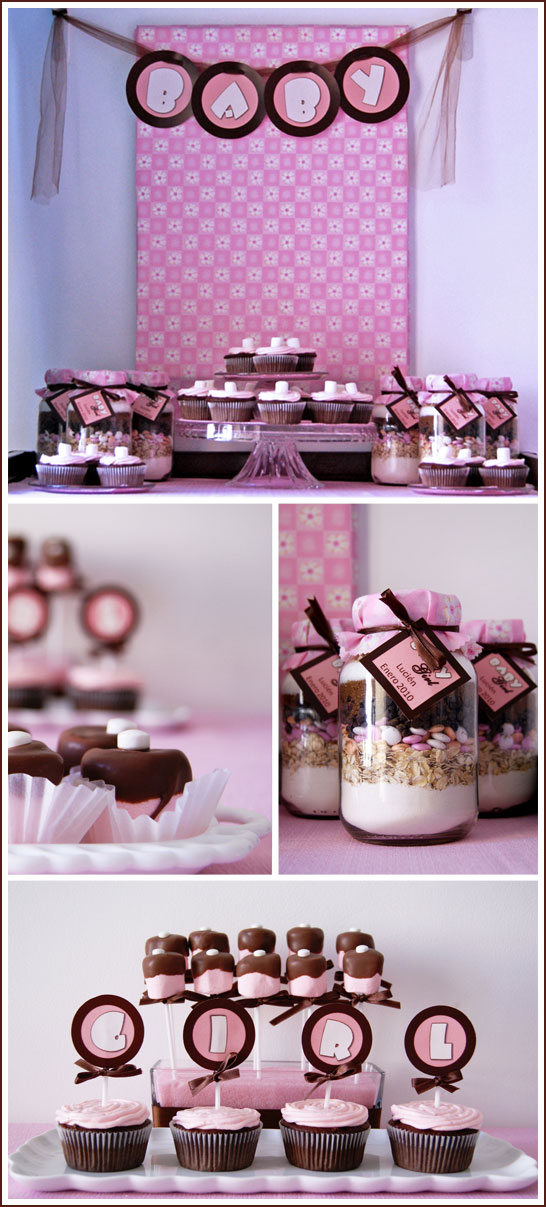 Real Party Brown Pink Baby Shower