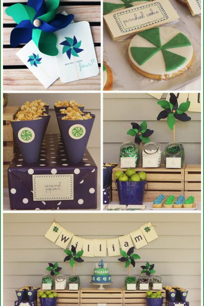 Real Party: Navy & Green Pinwheel Birthday