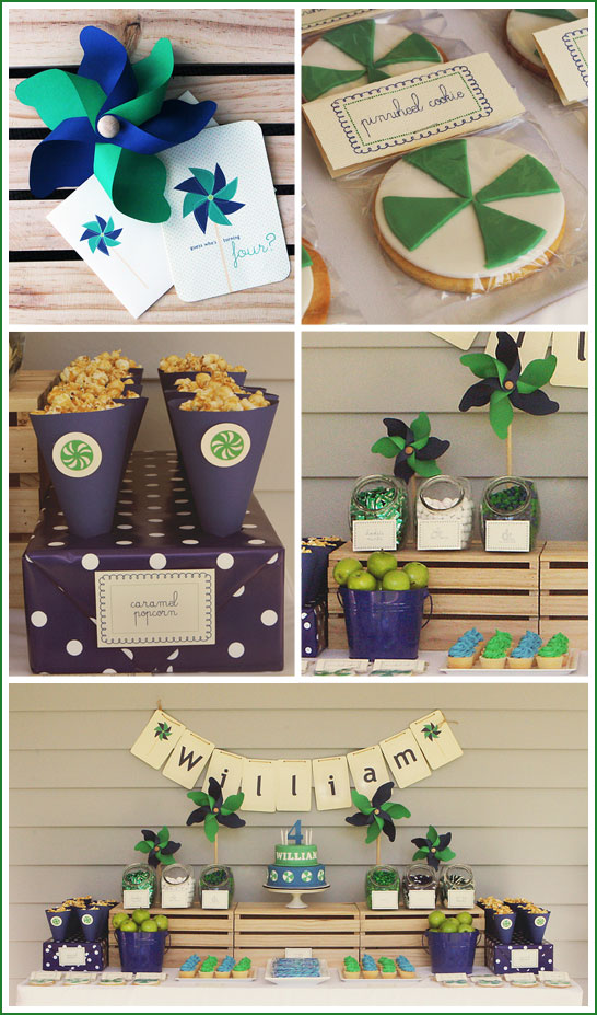 Navy and Green Pinwheel Party