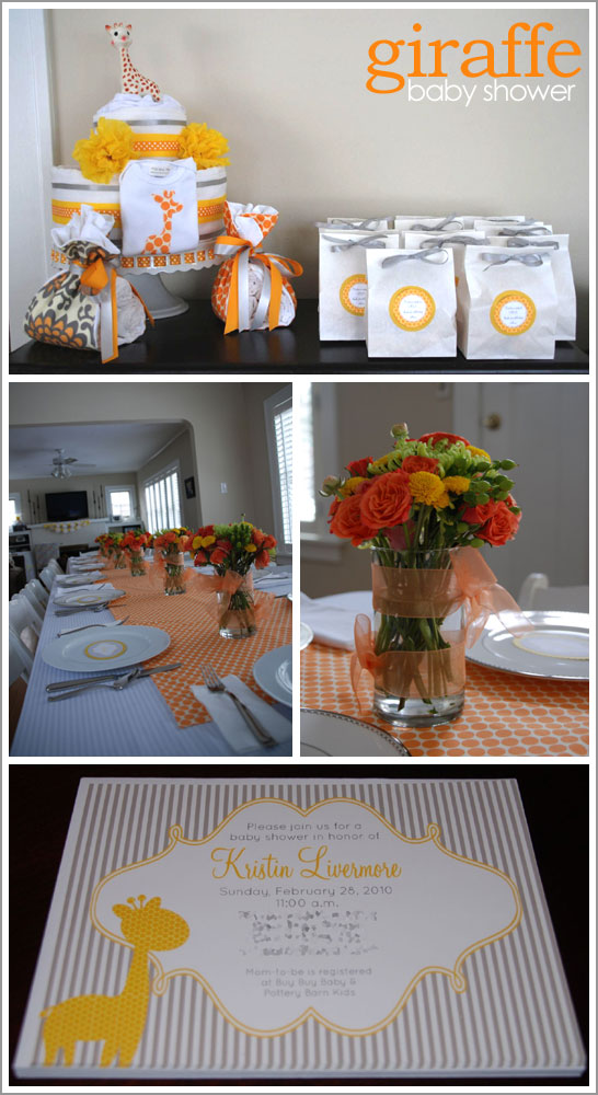 Giraffe Baby Shower in Orange and Grey