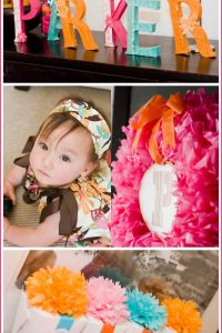 Modern Flower 1st Birthday Party