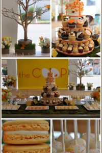 Tweet Modern Bird Party in Yellow, Orange & Chocolate