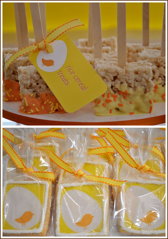 Tweet Modern Bird Party in Yellow, Orange and Chocolate