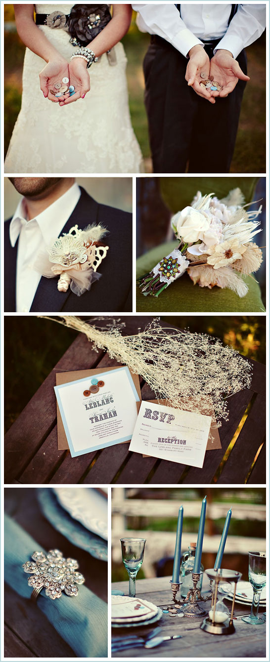 This wedding layout is definitely swoonworthy Vintage Button Wedding