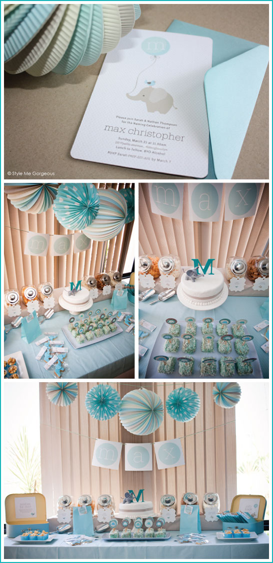 Elephant Baby Shower in Grey & Turquoise