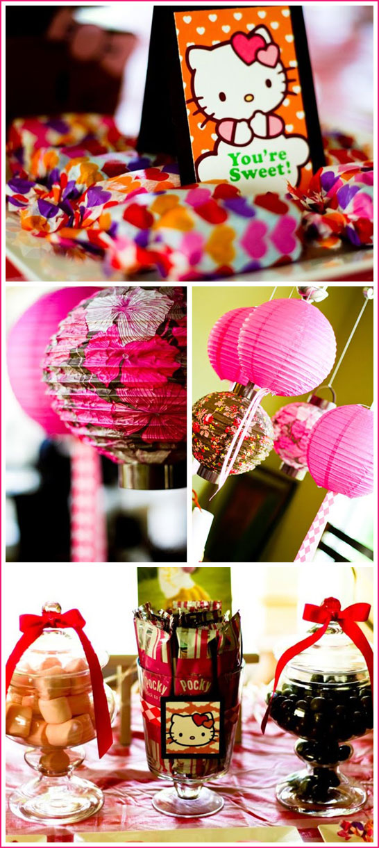 This Hello Kitty birthday party was created by Gretchen over at b.a.s.h.ful