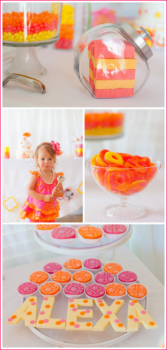 Hot Pink & Orange Candy Birthday