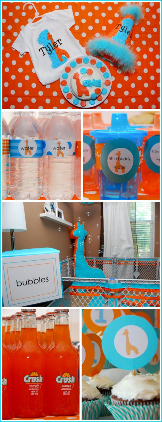 Giraffe First Birthday in Blue & Orange
