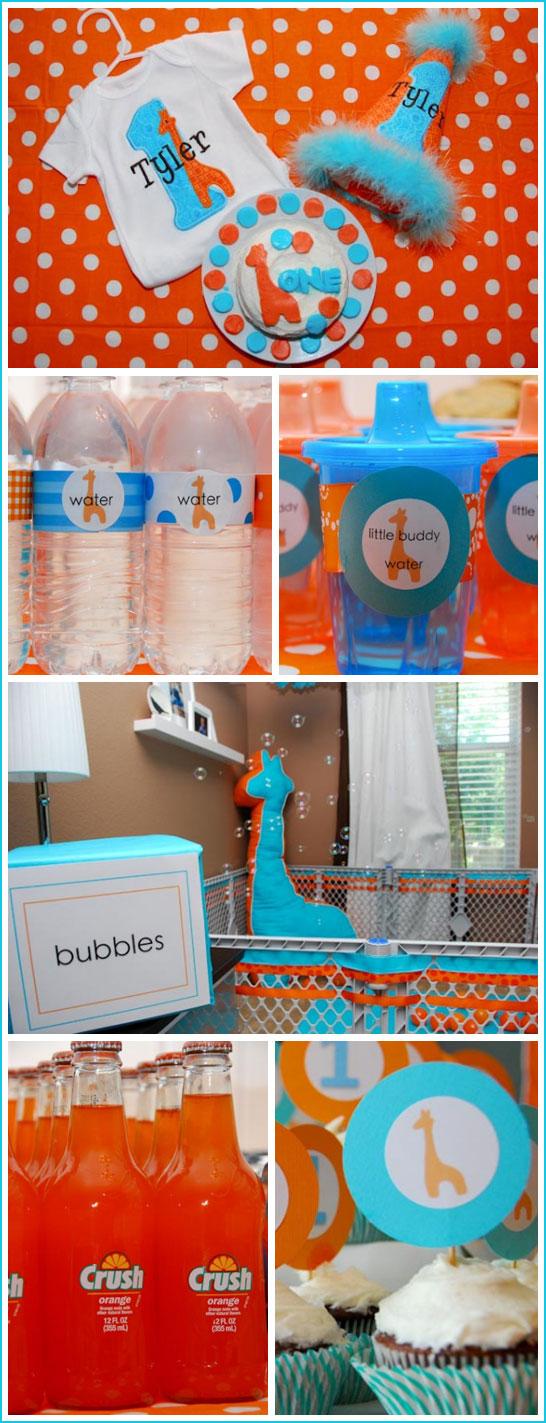 Giraffe First Birthday In Blue Orange