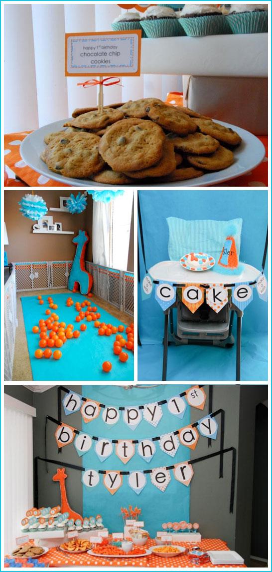 Giraffe First Birthday in Blue & Orange