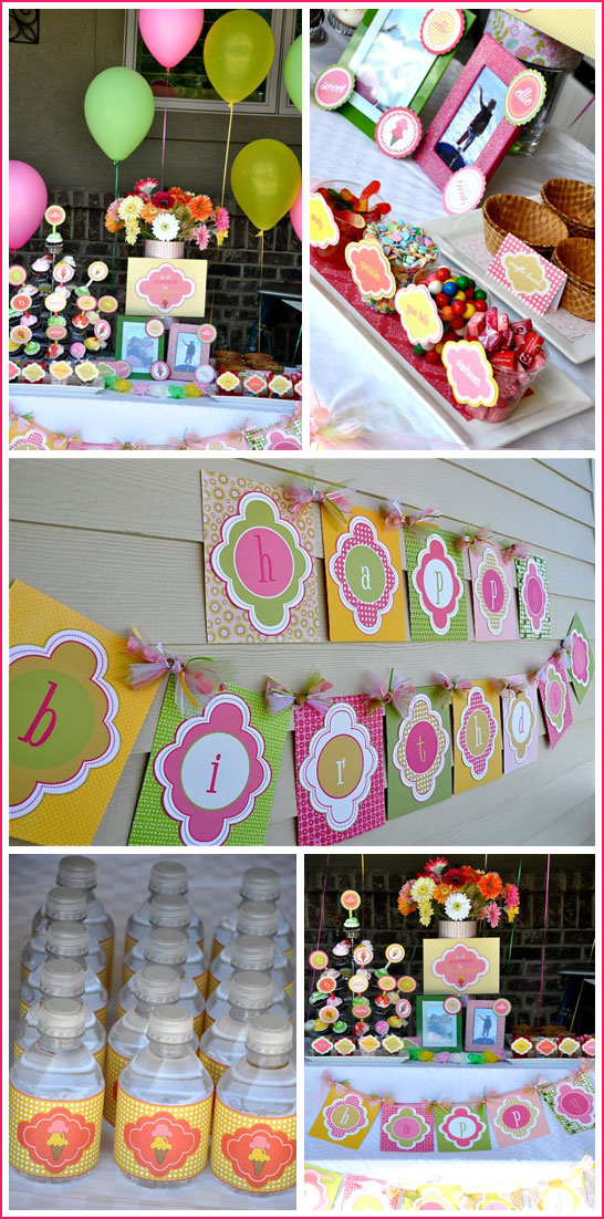 Ice Cream Birthday Party in Pink & Green