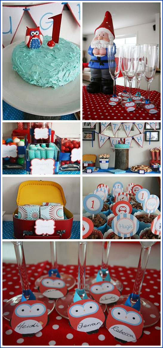 Woodland Birthday Party in Red, Blue & Aqua