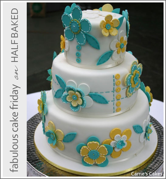 Button & Flower Cake by Carrie's Cakes