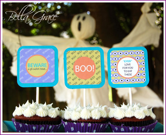 Halloween Cupcake Toppers and Favor Tags