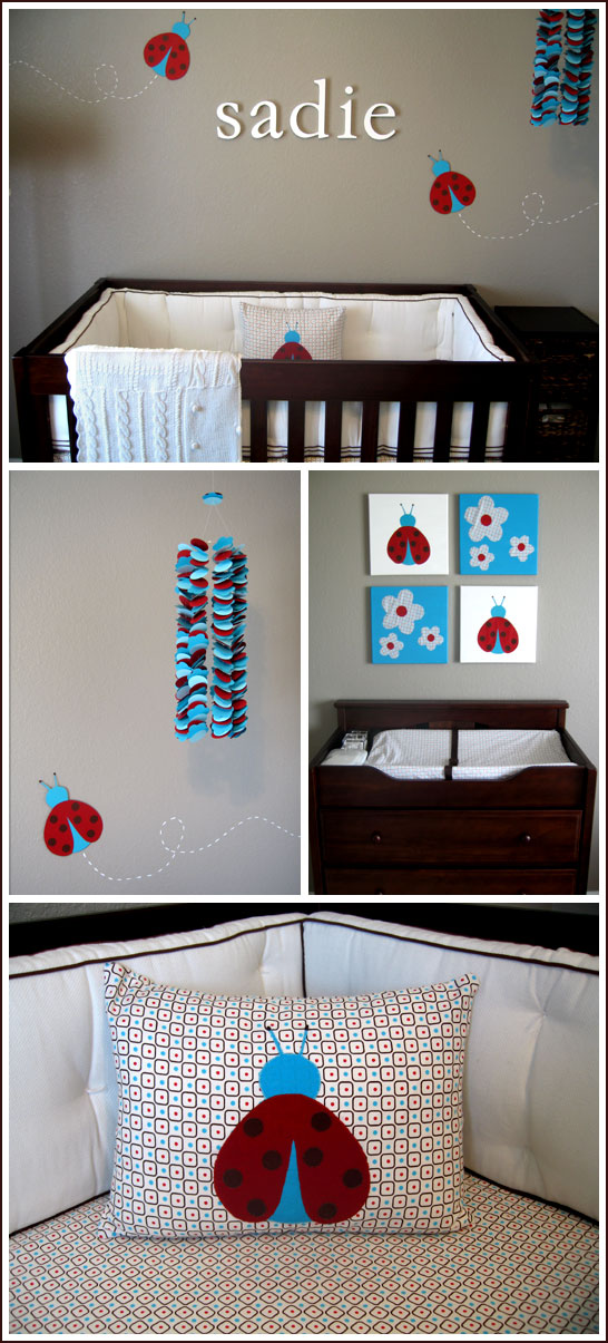 Modern Ladybug Nursery in Turquoise & Red