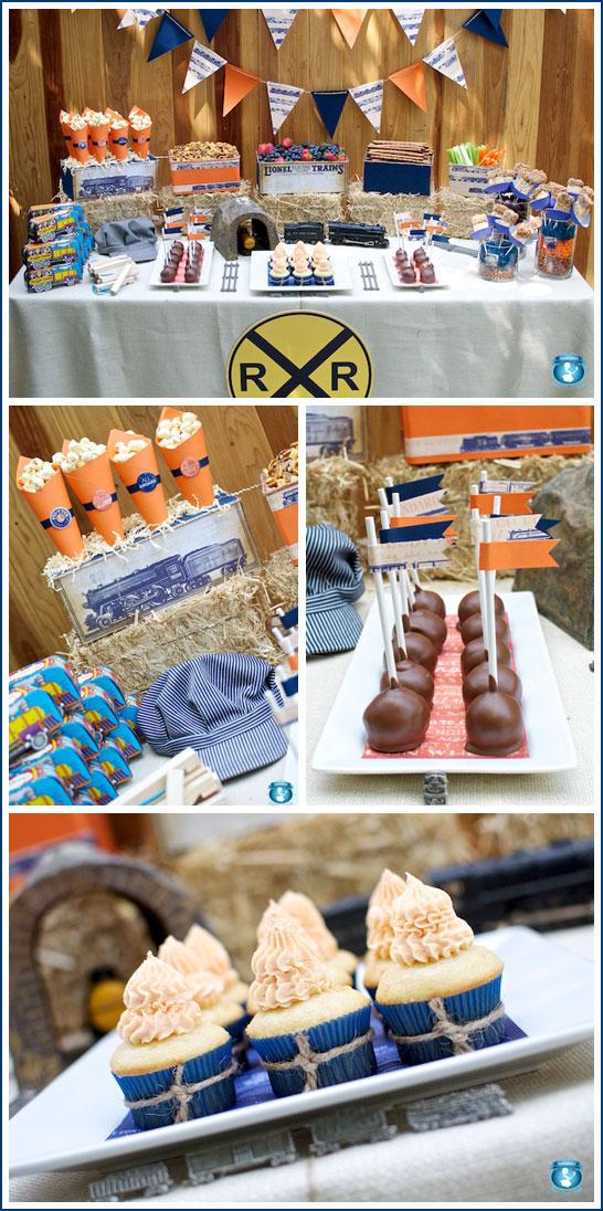 Train Birthday Party in Blue & Orange