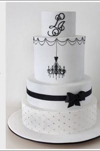 Black & White Cake Chandalier Cake