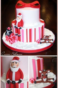 Christmas Cake with Santa and Reindeer
