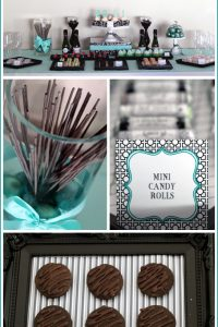Black & Teal Dessert Table