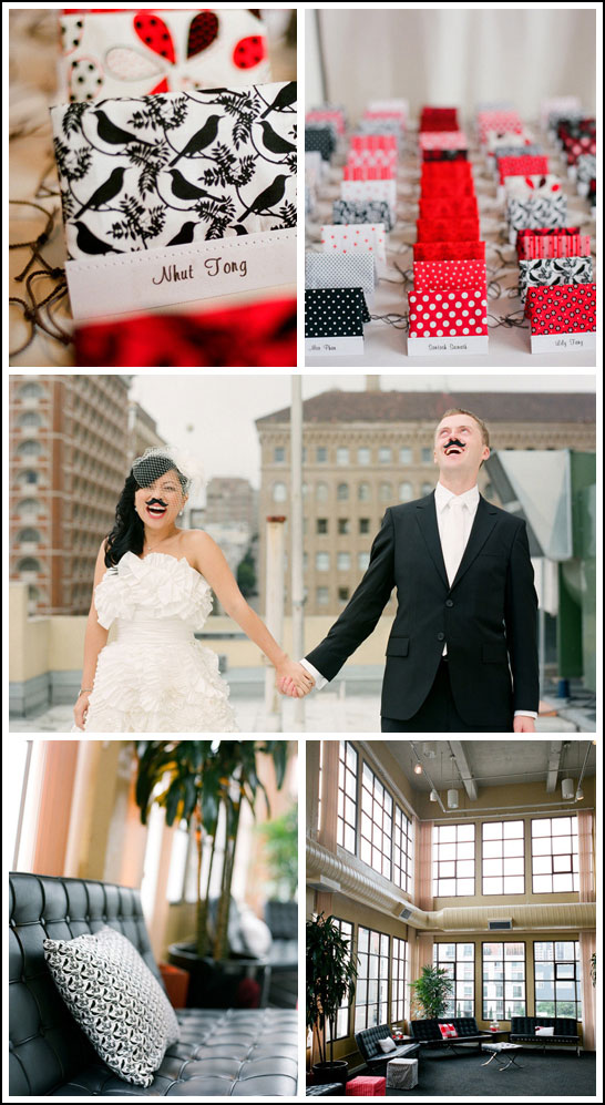 Modern Black & Red Valentine's Wedding