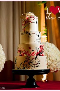 Black & Red Wedding Cake - Modern Birds