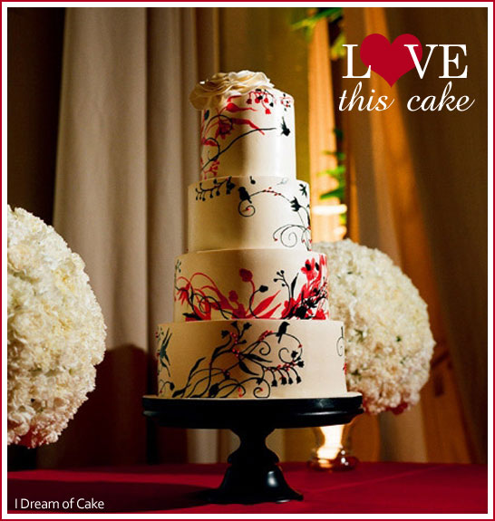 Black & Red Wedding Cake - Modern Birds