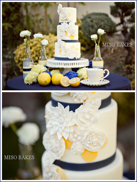 Vintage Wedding Cake in Navy & Yellow by Miso Bakes