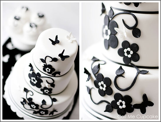 Modern Black & White Cake by Call Me Cupcake
