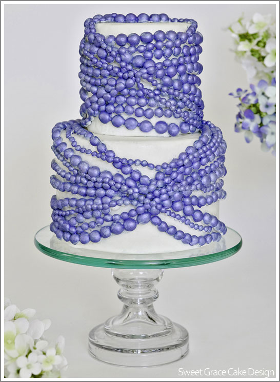 Sapphire Pearl Cake by Sweet Grace Cake Design