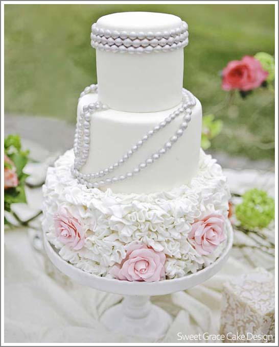 Pearl Ruffle Cake by Sweet Grace Cake Design