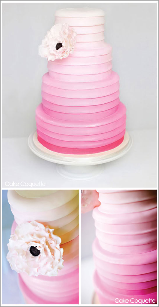 Ombre cake in pink by Cake Coquette