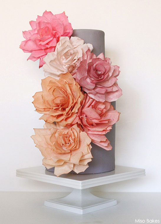 DIY Paper Rose Cake by Miso Bakes | TheCakeBlog.com