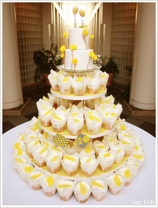Grey & Yellow Wedding Cupcake Display
