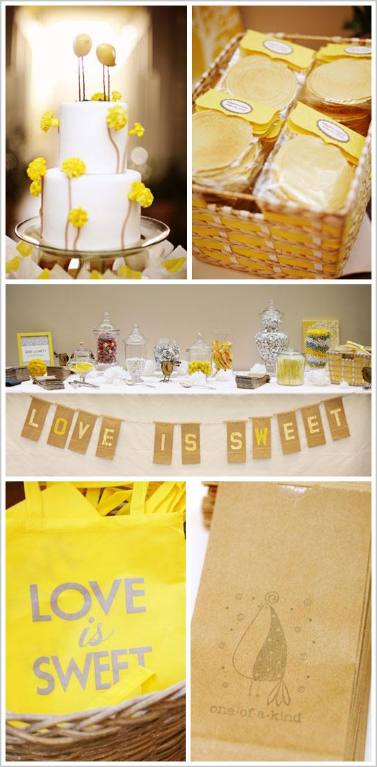 Grey Yellow Wedding Dessert Table