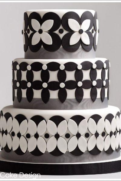 Black & White Petals Cake