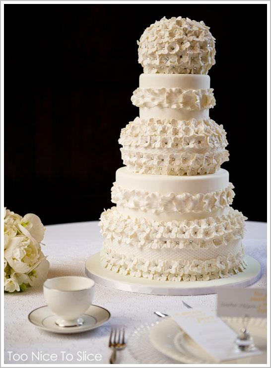 White Hydrangea Cake by Too Nice To Slice