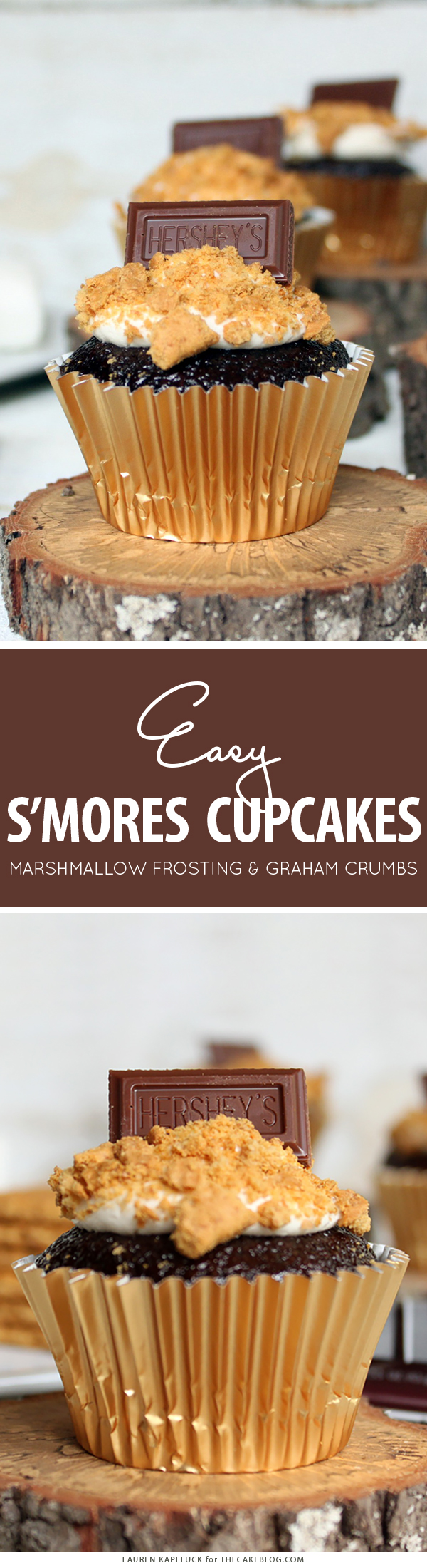 S'mores Cupcakes - easy s'more inspired cupcake recipe with chocolate cupcakes, marshmallow frosting, graham cracker crumbs and a hunk of milk chocolate | by Lauren Kapeluck for TheCakeBlog.com