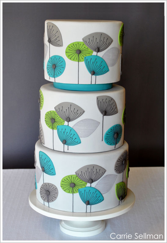 Retro Flower Cake by Carrie Sellman for BRIDES Magazine