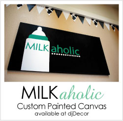 Shop the Milkaholic Baby Shower, Custom Painted Canvas