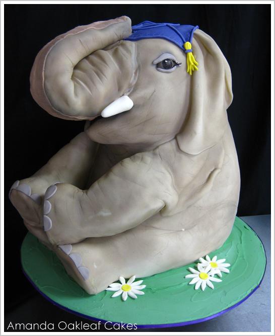 3D Elephant Cake by Amanda Oakleaf Cakes