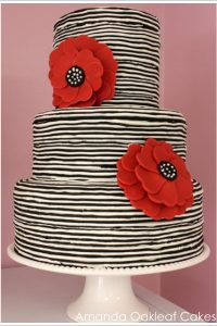 Modern Striped Wedding Cake by Amanda Oakleaf Cakes