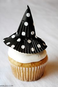 {super easy} Cupcake Liner Witch Hats  | by Carrie Sellman  |  TheCakeBlog.com