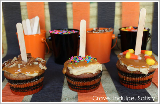 Caramel Apple Cupcakes for Halloween