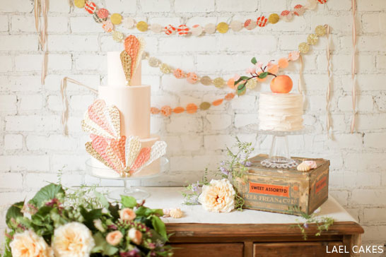 Peaches & Cream Cake Trio by Lael Cakes  |  TheCakeBlog.com