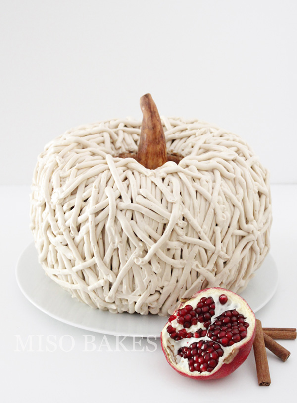 Rustic Pumpkin Cake with Chocolate Ganache Filling | by Miso Bakes for TheCakeBlog.com