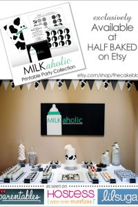 Milkaholic Printable Party Collection, available at Half Baked on Etsy
